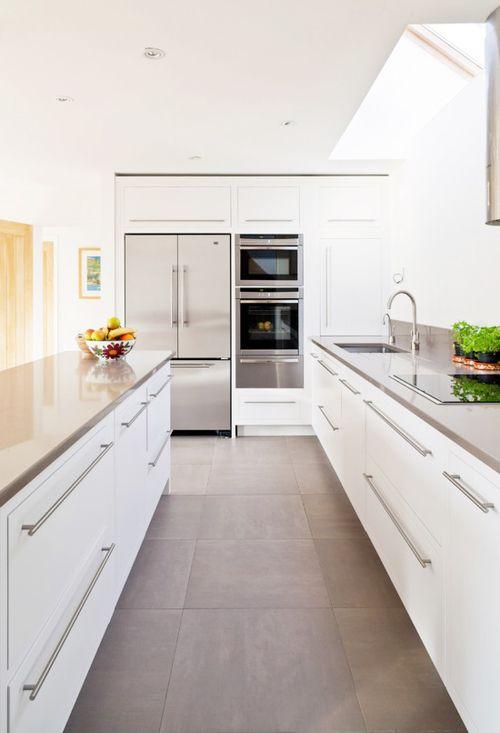 Grey Large Format Floor Tiles White Kitchen White Modern