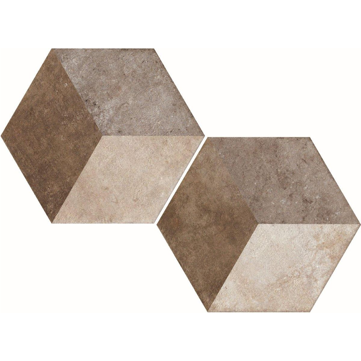 Ivory vintage inspired hexagonal cube patterned tile