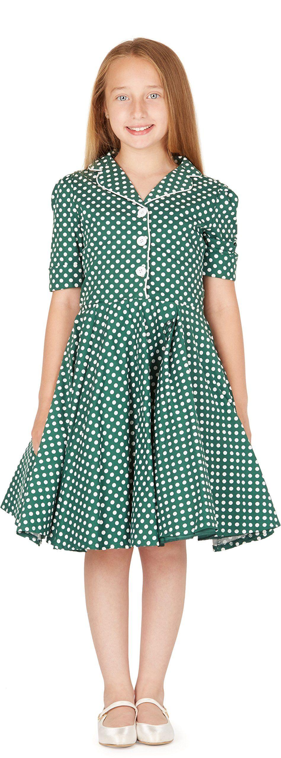 81f59ce9a BlackButterfly Kids 'Sabrina' Vintage Polka Dot 50's Girls Dress (Green, 11-
