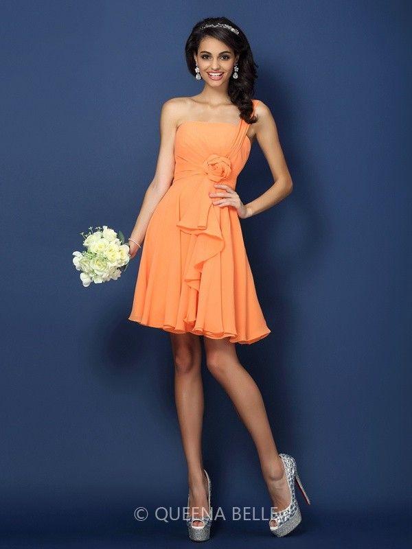 43794ba508c A-Line/Princess Strapless One-Shoulder Sleeveless Hand-Made Flower Short/Mini  Chiffon Bridesmaid Dresses