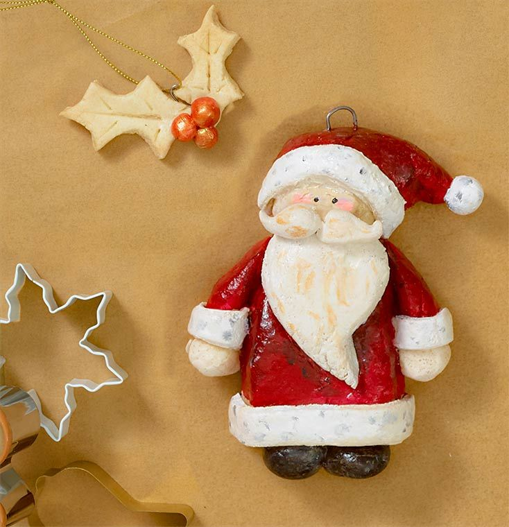 Painted santa dough ornament #saltdoughornaments