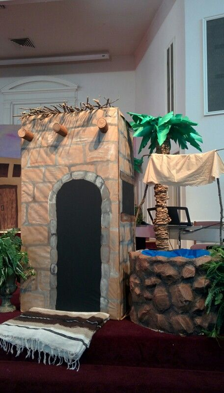 Nazareth VBS building, well, palm tree