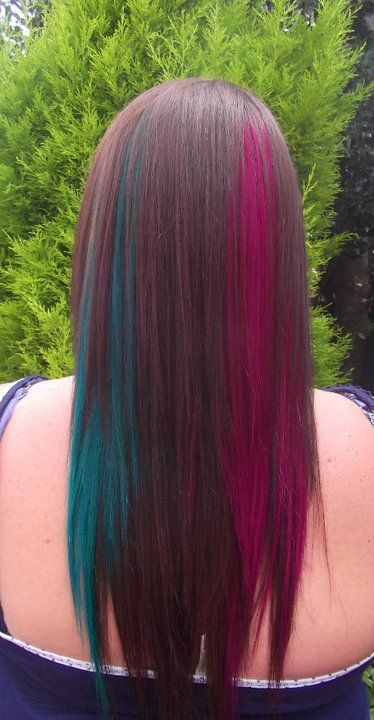 Dramatic Crazy Colour Flashes Magenta And Tropical Green Long Hair Long Hair Styles Hair Styles Hair