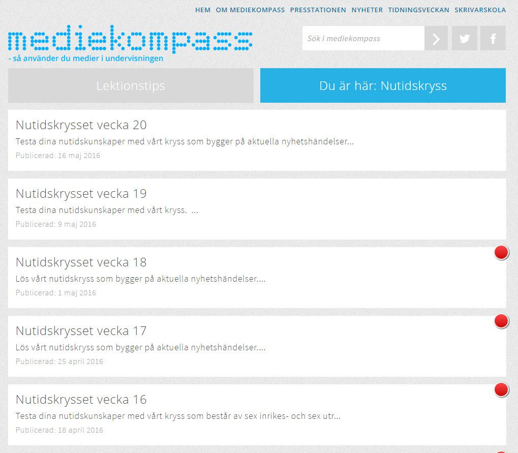 #Mediekompass #nutidskryss var kul! http://www.mediekompass.se/nutidskryss/ . Mediekompass lades ned 2016 http://www.dn.se/dnbok/mediekompass-lagger-ned-verksamheten/ .