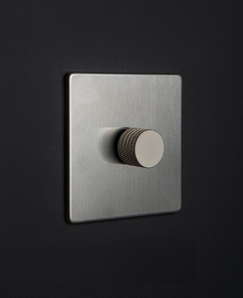 Silver Single Dimmer Switch With Silver Gold Black Or White Dimmer In 2020 Dimmer Switch Dimmer Steel Fixtures