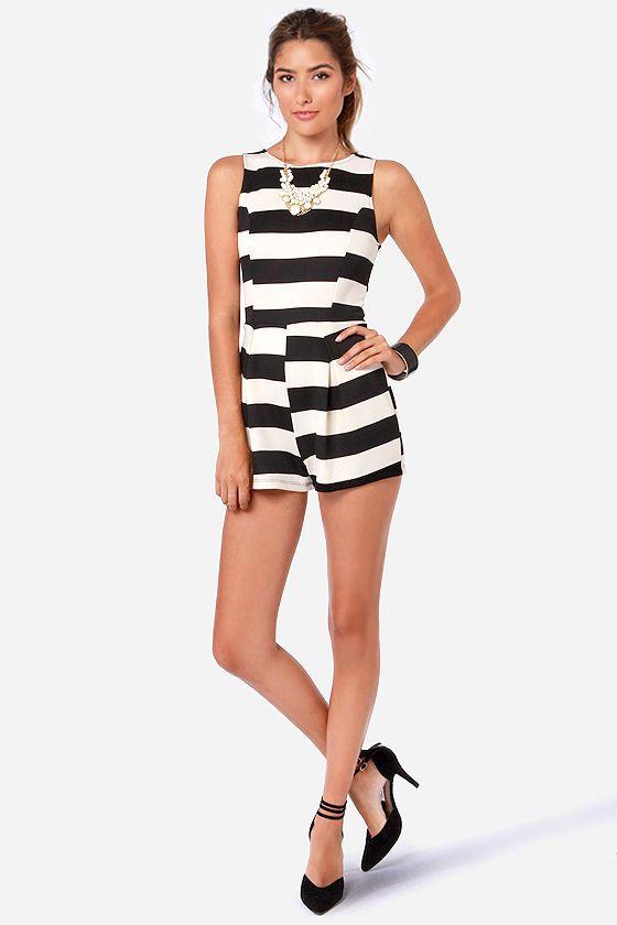 a0bf9d4873be Cute Black and White Romper - Striped Romper -  40.00