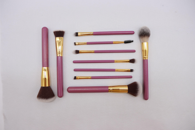 Customized 10 piece makeup brushes set, Factory wholesale