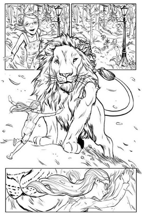 Chronicles Of Narnia Lucy Love Aslan Coloring Page Coloring