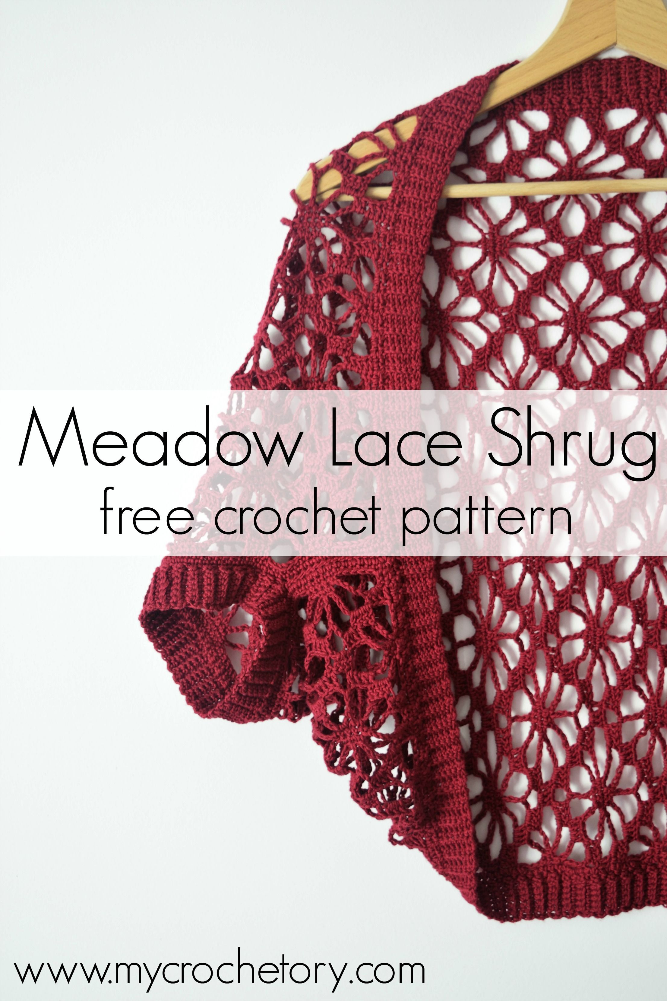 Meadow Lace Shrug free crochet pattern - Mycrochetory #crochetclothes