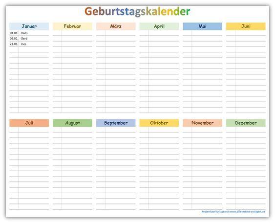 Farbiger Geburtstagskalender Zum Ausdrucken Als Kostenlose Vorlage Entdecke Diese Und Vie Geburtstagskalender Ausdrucken Geburtstagskalender Kalender Vorlagen