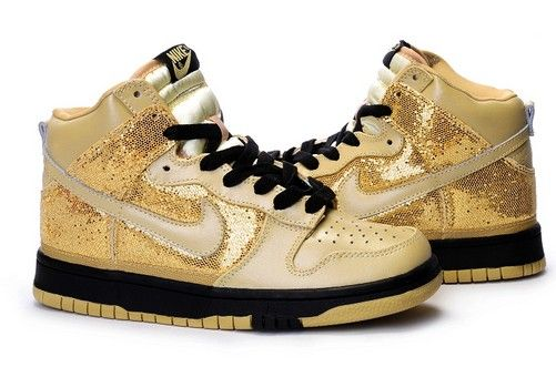 High Tops For Girls | nike dunk skinny gold shoes for girls