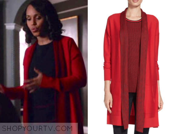 e7ba32853f40 Olivia Pope (Kerry Washington) wears this red twill stitch knit two-tone  long cardigan sweater by St. John in this S6/Ep11.