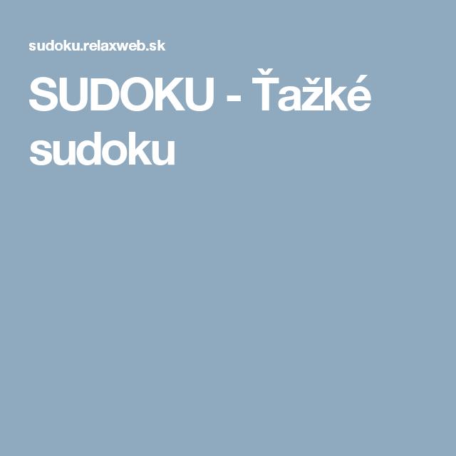 SUDOKU - Ťažké sudoku