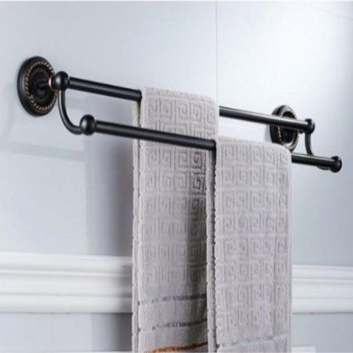 free shipping black oil nickle towel rack wall mounted 24 inch double towel bartowel - Bathroom Accessories Towel Rail