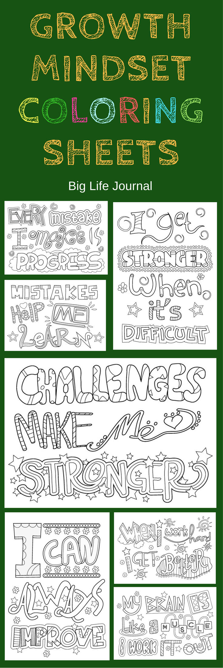 Growth mindset printable coloring sheets for kids. #mathforchildren ...