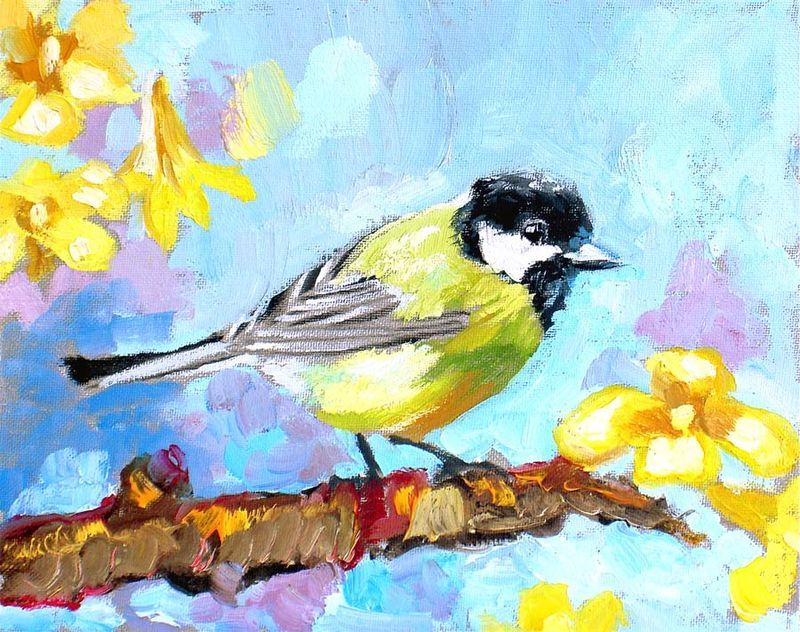 A pretty bird oil by Margaret Owen