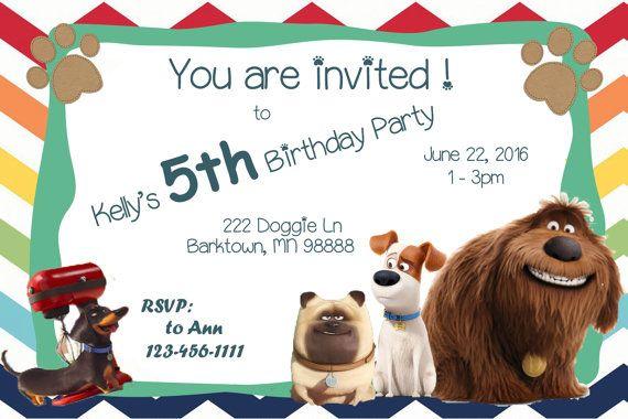 Vida Secreta De Mascotas Invitacion Partido Por Snwbllboutique