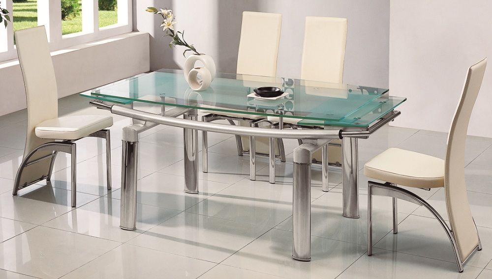 Family Dinner Party Arrangement With Soothing Dining Table For 6 Designs Stainless Steel Gl Top White Chairs In