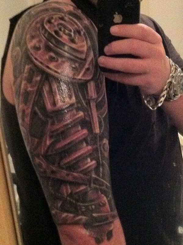 Robotic Arm By Karlinoboy Robotic Arm Tattoo Biomechanical Tattoo Cyborg Tattoo