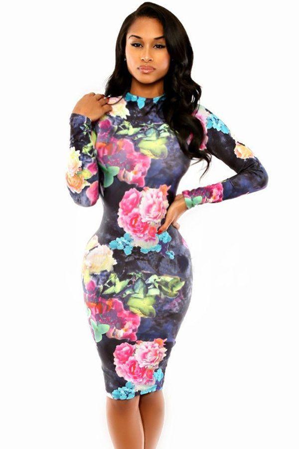 Tie Dye Flora Print Dress