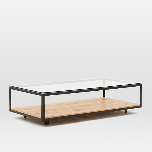 Open Up Your Space With Our Industrial Display Coffee Table. The Glass Top,  Hot Rolled Steel Frame And Modern Oak Veneer Shelf Make It A Clean, ...