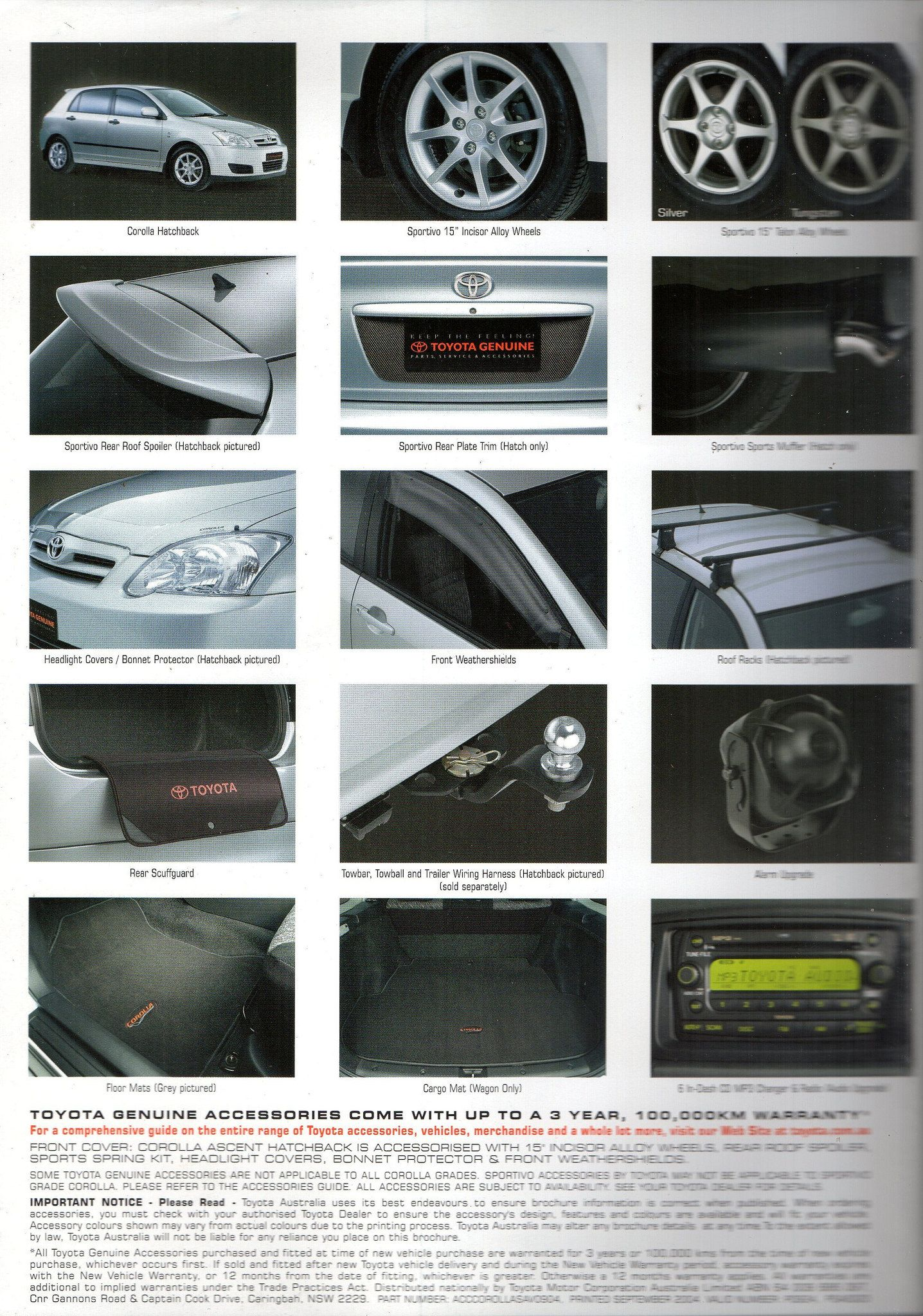 2004 Toyota Corolla E120 Genuine Accessories Australian Brochure Page 2 Toyota Corolla Toyota Car Advertising