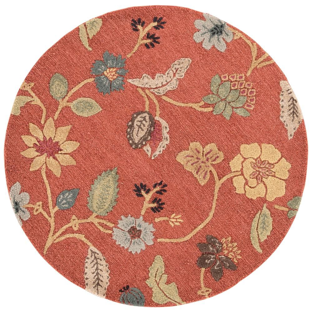Jaipur Rugs Copper Brown 8 Ft X 8 Ft Floral Round Area Rug