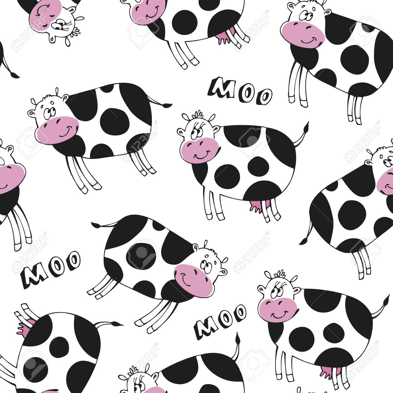 seamless pattern with happy cute cow royalty free cliparts a