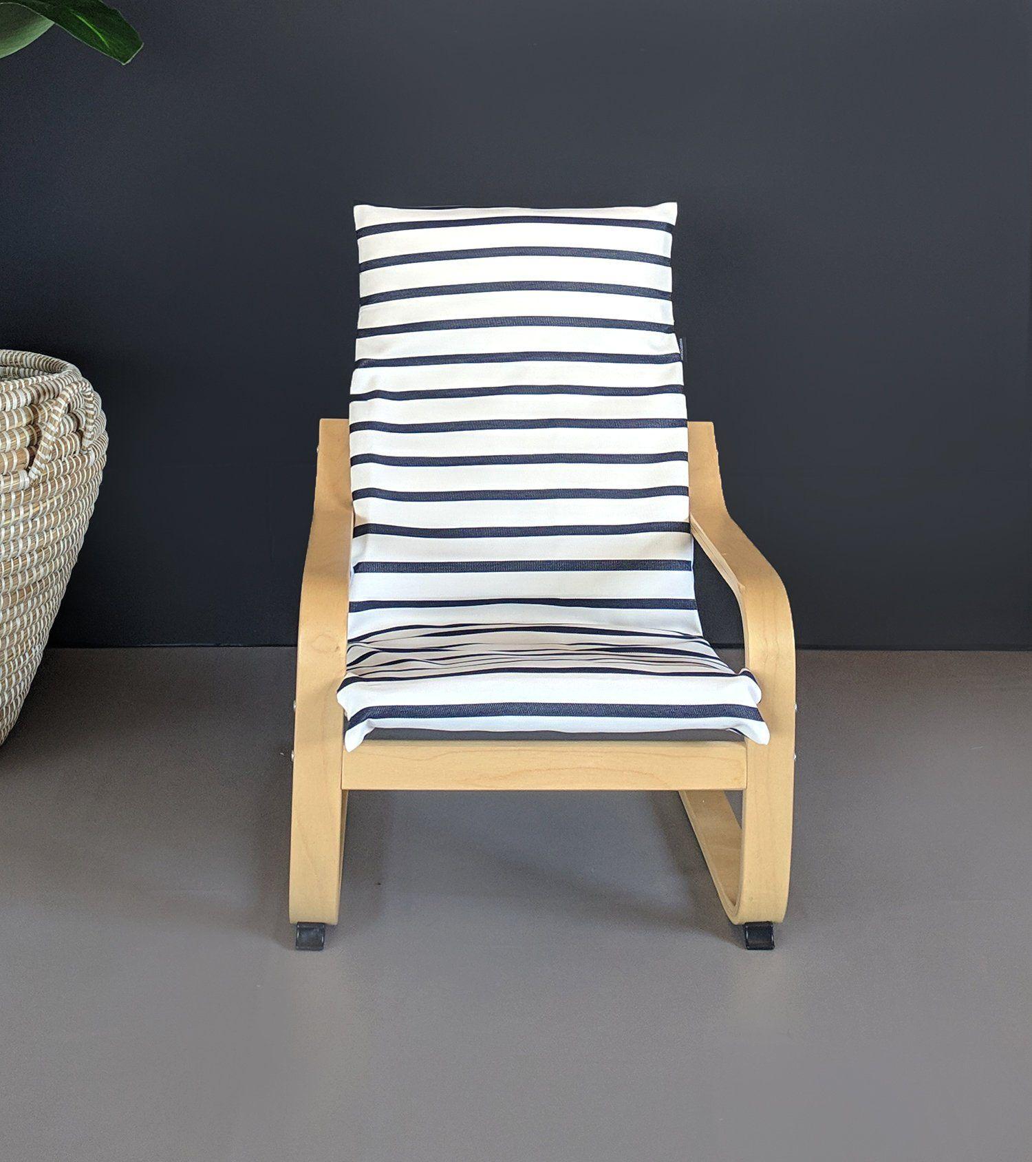 Sunbrella White Navy Stripe Ikea Kids Poang Seat Cover