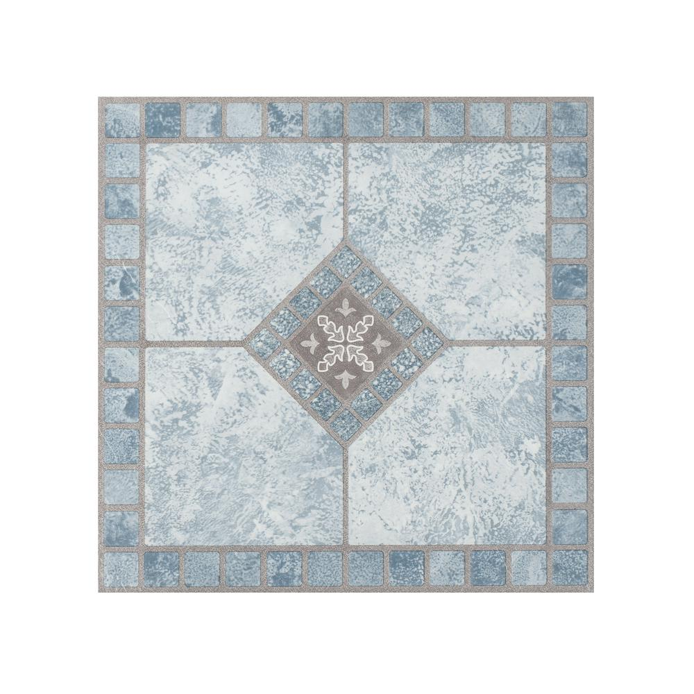 Portfolio Blue Diamond 12 In X 12 In Peel And Stick Vinyl Tile Luxury Vinyl Vinyl Tile Flooring
