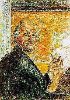 """""""자화상""""    뭉크는 말년에 그림이 크게 인정을 받으면서 유명해진다. 이 자화상은 그의 마지막 자화상이다."""