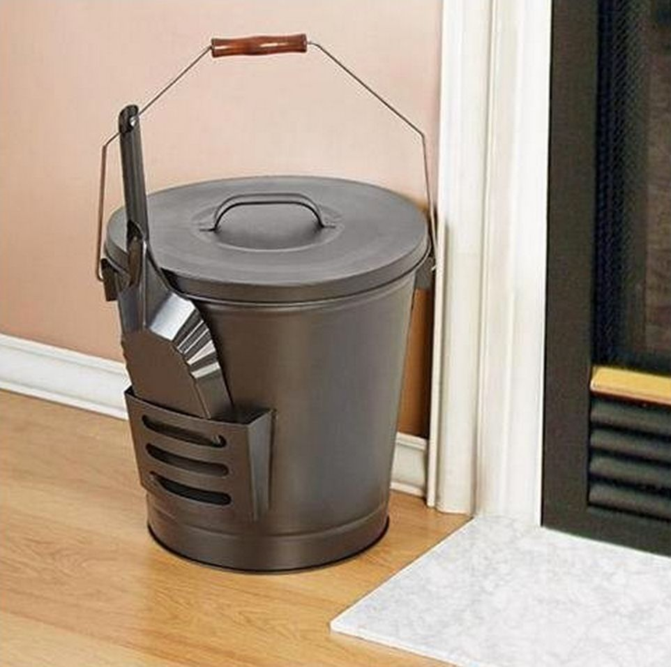 Ash Bucket Shovel Black Fireplace Firepit Wood Handle Metal Lid Pail Easy Clean Black Fireplace Home Storage Organization Wood Handle