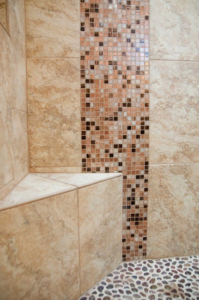 Image Of Shower Bench With Decorative Mosaic Tile