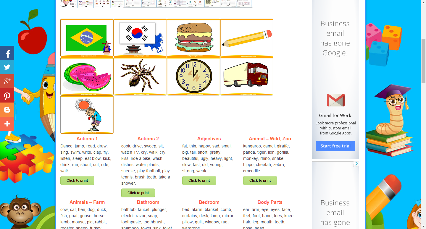 Esl Powerpoint Flash Cards Vocabulary Flashcards For