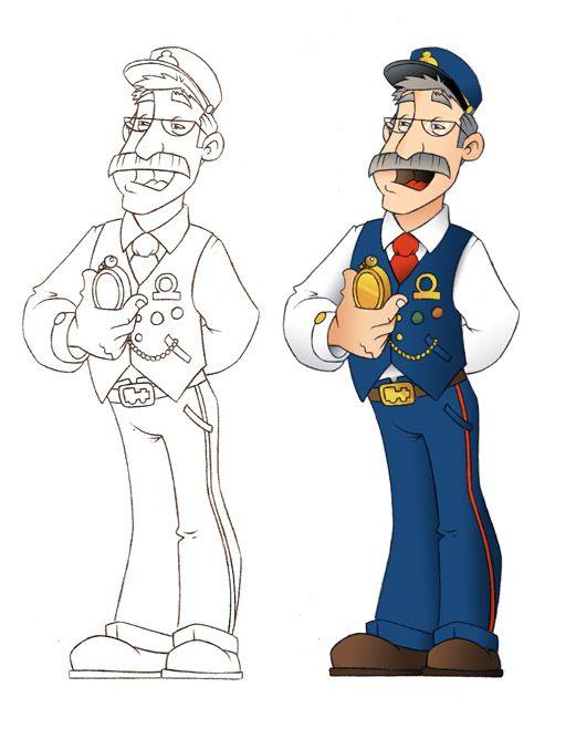 Train Conductor Train Cartoon Conductors
