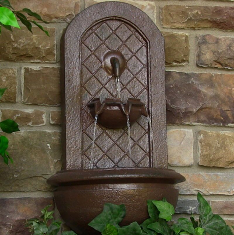 Marsala Outdoor Solar Wall Fountain Weathered Iron Water Feature Garden  Decor