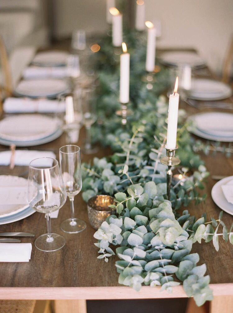 eucalyptus table runner. This smells amazing, is inexpensive, comes in different colors and would soften the log center pieces.