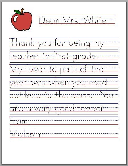 teacher thank you done using startwrite custom handwriting worksheet software sophie needs to. Black Bedroom Furniture Sets. Home Design Ideas