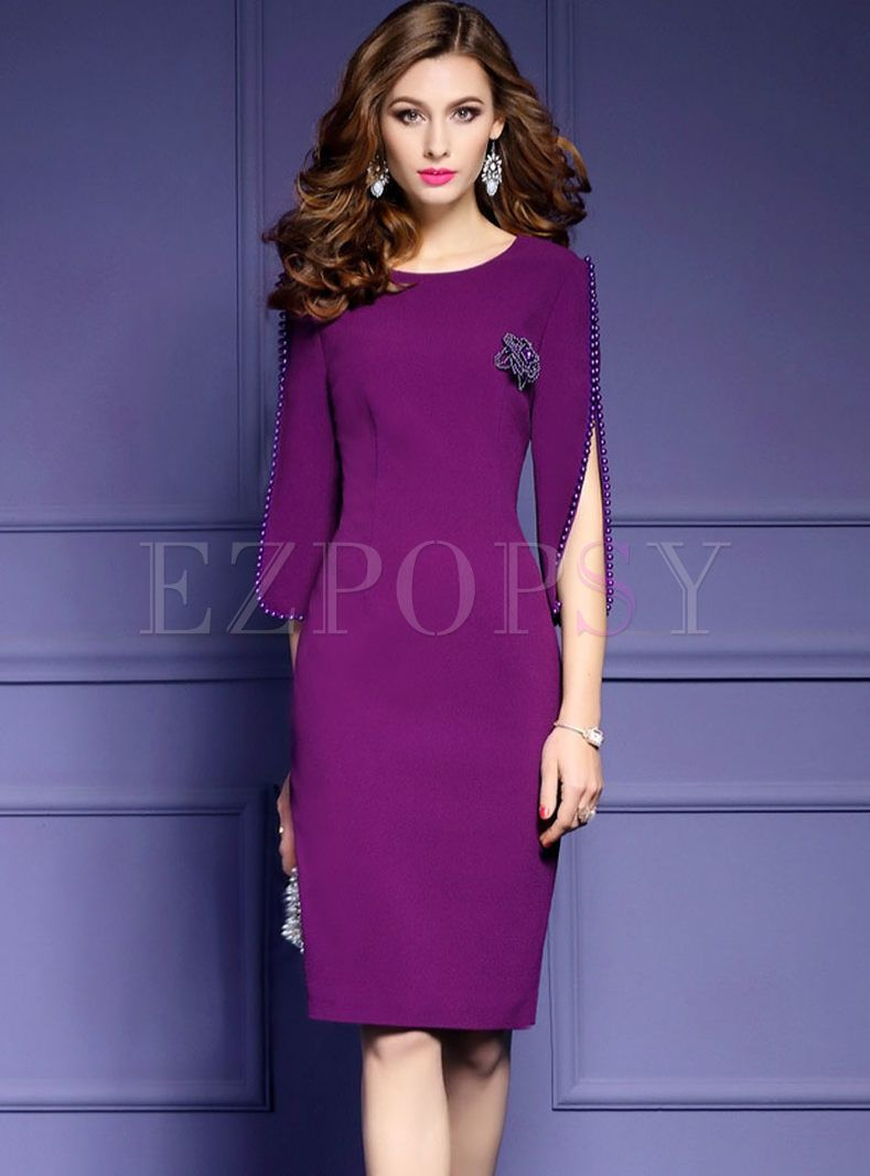 Shop for high quality Chic OL Nail Bead 3/4 Sleeve Bodycon Dress ...