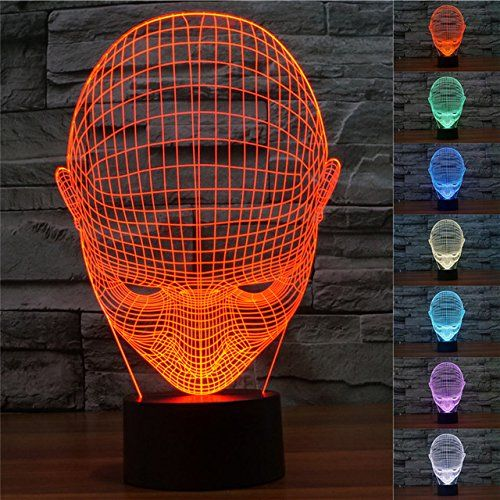 Superniudb Human Face Ai Robot 3d Night Light Led Usb 7 Color Change Led Table Lamp Xmas Toy Gift Be Sure To Chec Robot Lamp 3d Night Light Led Night Light