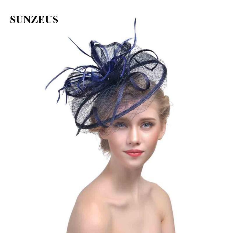 d9ebfeff Face Veil Hats for Women Bridal Feathers Fascinators Wedding Hats 2018  Newly Linen Tulle Women Party Hair Accessories Hats SH32