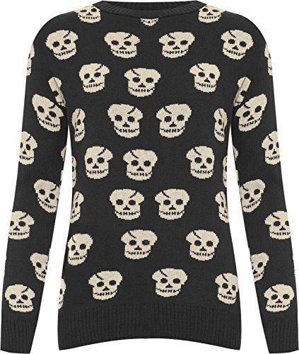 ffbf696b83df WearAll Ladies Skull Knitted Jumper Womens Long Sleeve Crew Neck ...
