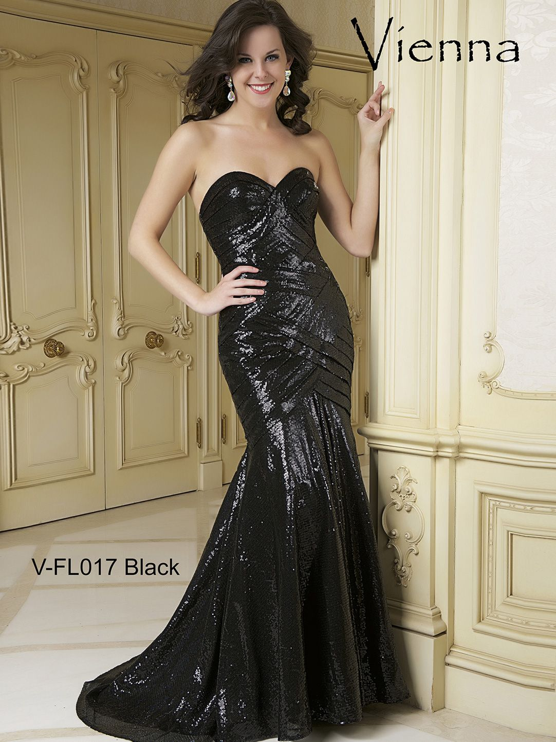 Sweetheart Sequined Formal Prom Dress Vienna Fl017 Dresses Strapless Dress Formal Homecoming Dresses [ 1443 x 1082 Pixel ]