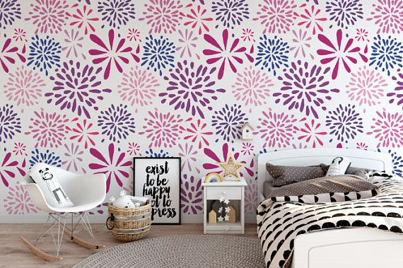 Flower Works Pink Peel And Stick Wallpaper Pink Removable Wallpaper Wall Wallpaper Flower Words
