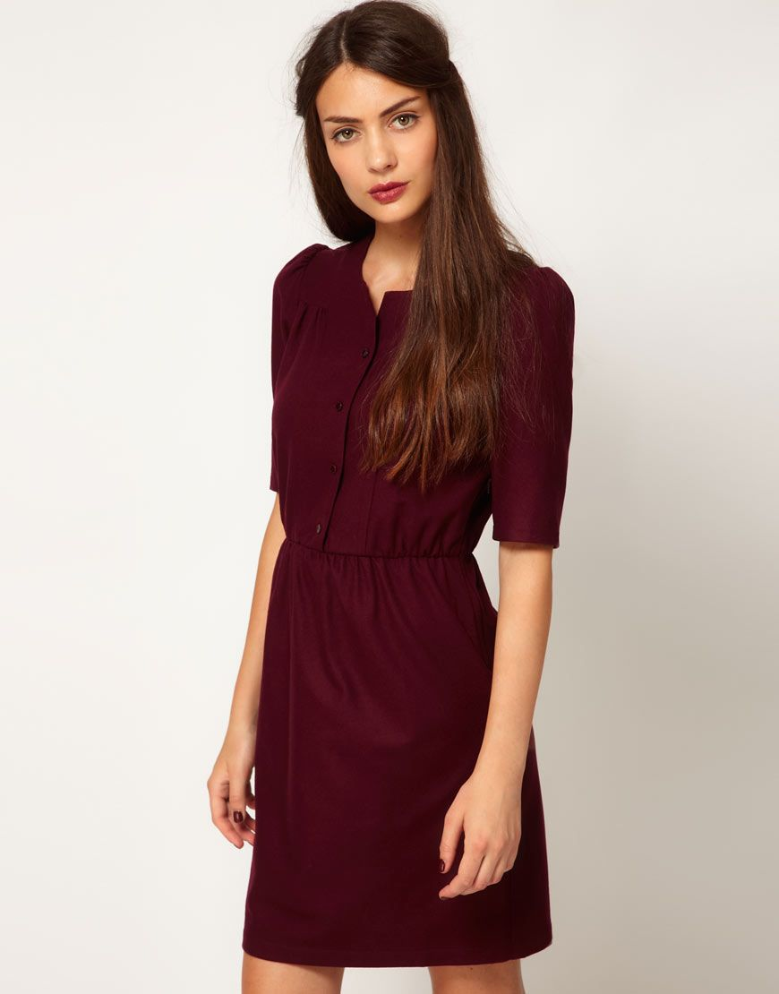 sessun wool woven dress with gathered waist