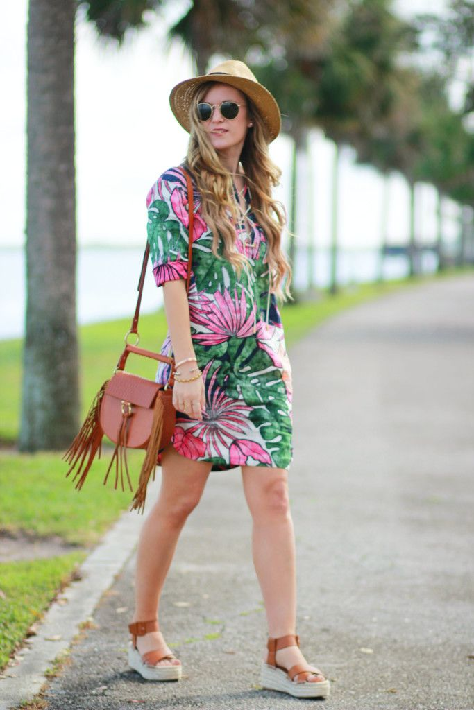 14ba66ea38 Orlando Florida fashion blog styles Tommy Bahama tropical print dress with  Sole Society espadrilles and Sancia Bablyon bag for a casual spring outfit