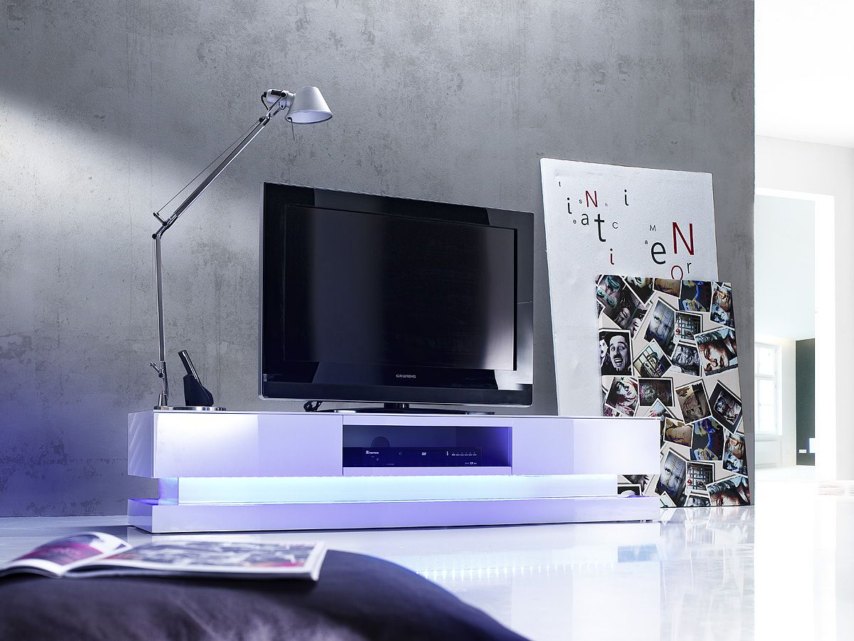 Nice #High #Gloss #White #TV #Stand With Colourful LED Lights. See