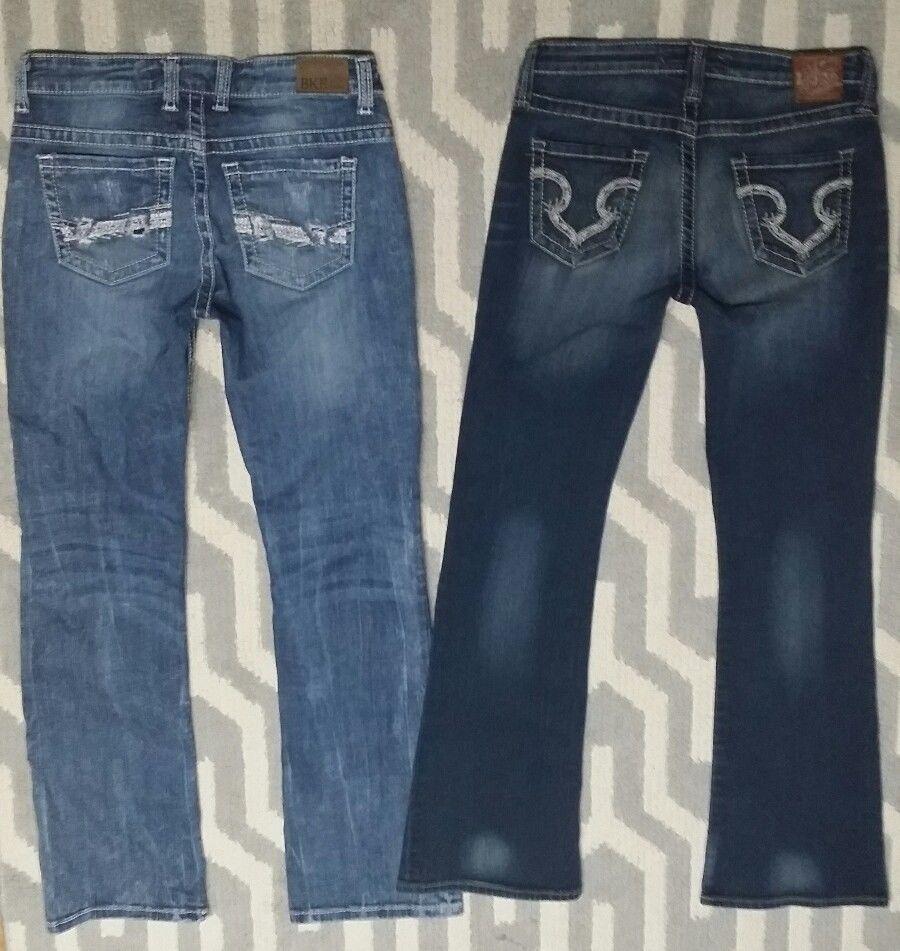 a9c84b9a027 Womens Lot of 2 BKE Payton  amp  Big Star Maddie Jeans 27 Thick Stitch  Stretch