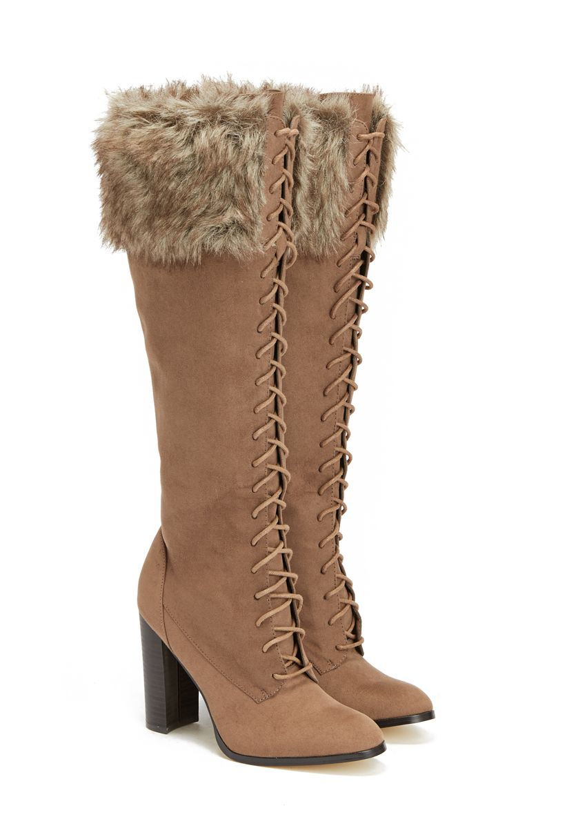 2745a91d225a Heeled boots with a faux-fur cuff and front laces.
