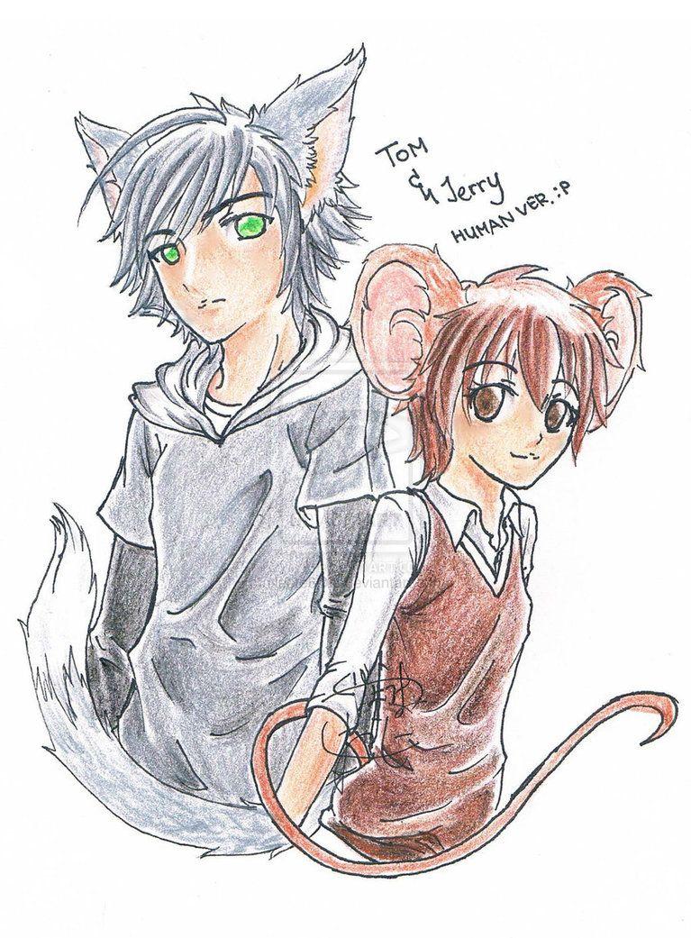 Drawn anime Tom and Jerry. Tom looks cool! Anime vs